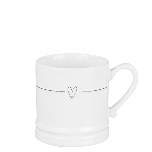Bastion Collections Mug Small White/Line with Heart in Black