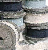 East of India Houten klos met linnen 3 meter, grijs-blauw