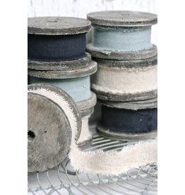 East of India Houten klos met linnen, grijs-blauw