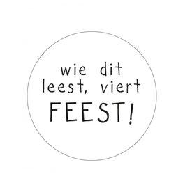 Ronde sticker Feest, wit/zwart, 10st