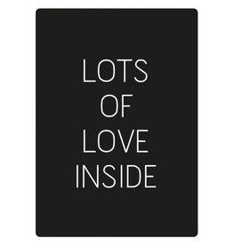 rechthoekige sticker Lots of Love, zwart/wit, 10st