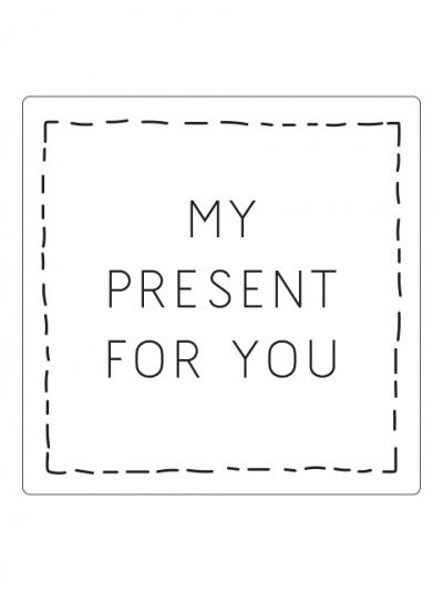 Vierkante sticker My present, wit/zwart, 10st
