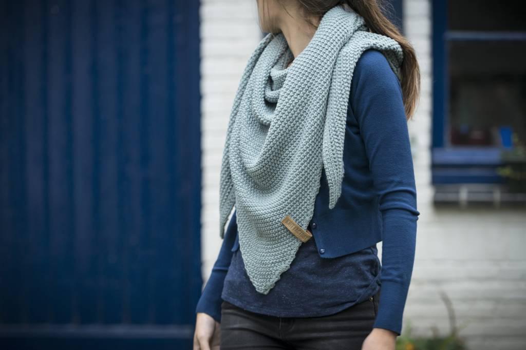 Knit Factory Omslagdoek / sjaal 85x200cm, stone green