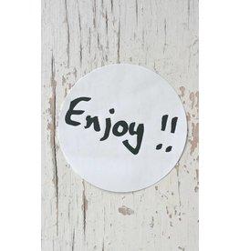 Ronde sticker 'enjoy!!' zwart/wit, 10st