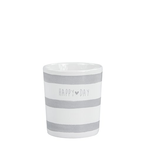 Bastion Collections Mug White/Stripes & happy day in Grey