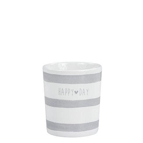 Mug White/Stripes & happy day in Grey