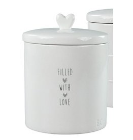 Jar Large White Filled with love in grey