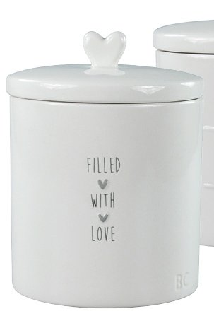 Bastion Collections Jar Large White Filled with love in grey