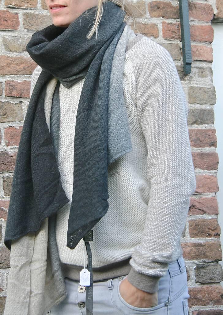Zusss Sjaal kleurendip75x200cm, zwart/grijs