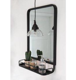 IB Laursen Spiegel met plank, zwart/bruin