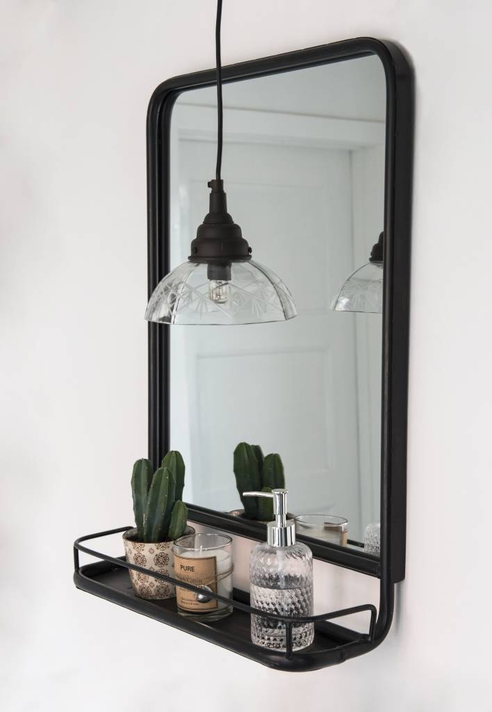IB Laursen Spiegel met plank 70x49x14cm, zwart/bruin
