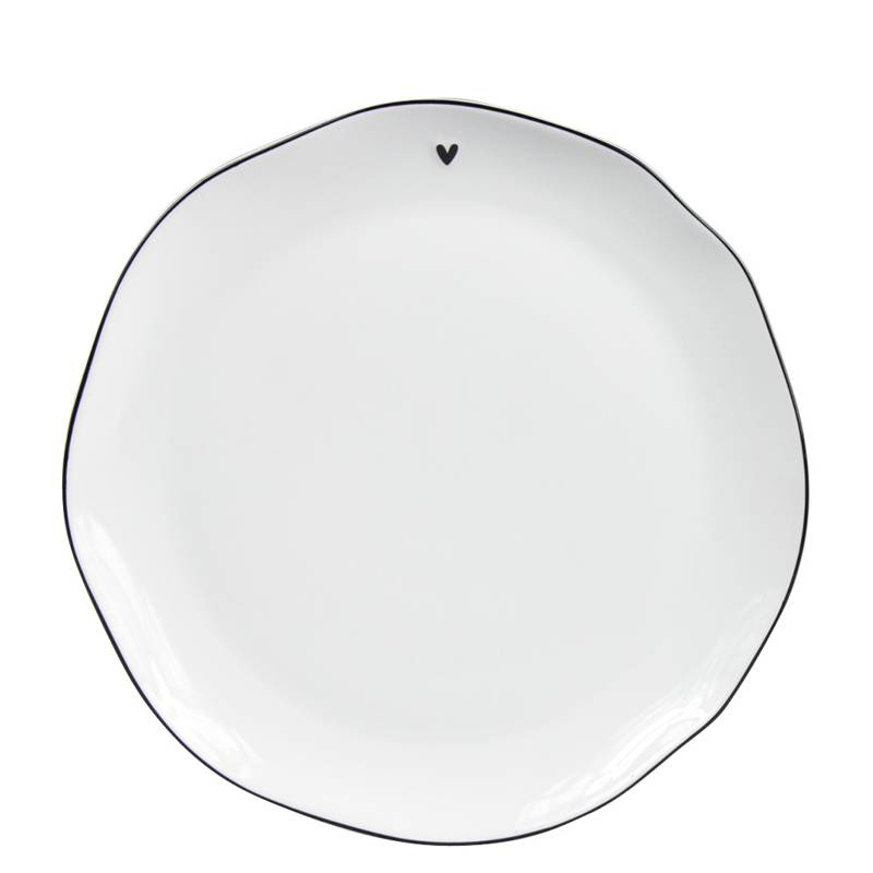 Bastion Collections Breakfast Plate White/ little heart in black