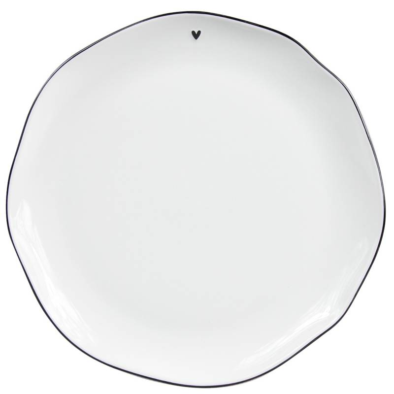 Bastion Collections Dinner Plate White/ edge in black