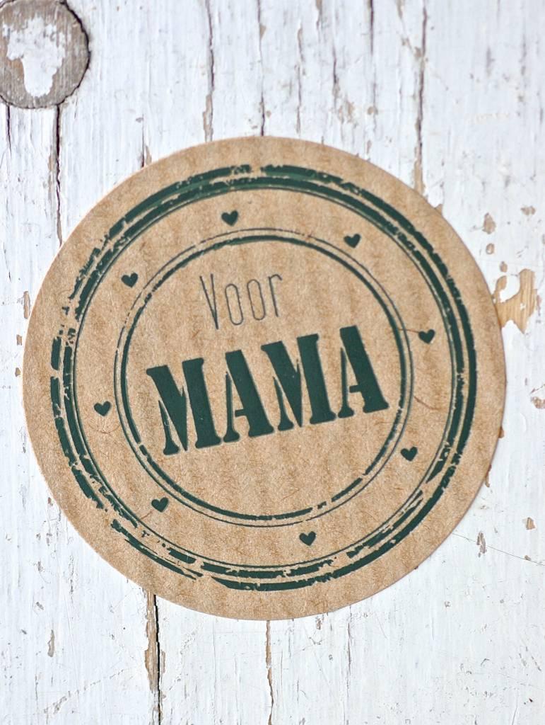 Ronde craft sticker voor mama, 5st
