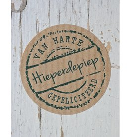 Ronde craft sticker hieperdepiep, 10st