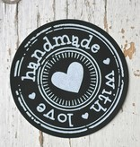 Ronde sticker hand made with love zwart, 10st
