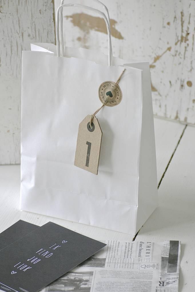 Luxe papieren draagtasjes 18x8cm wit, 5 stuks