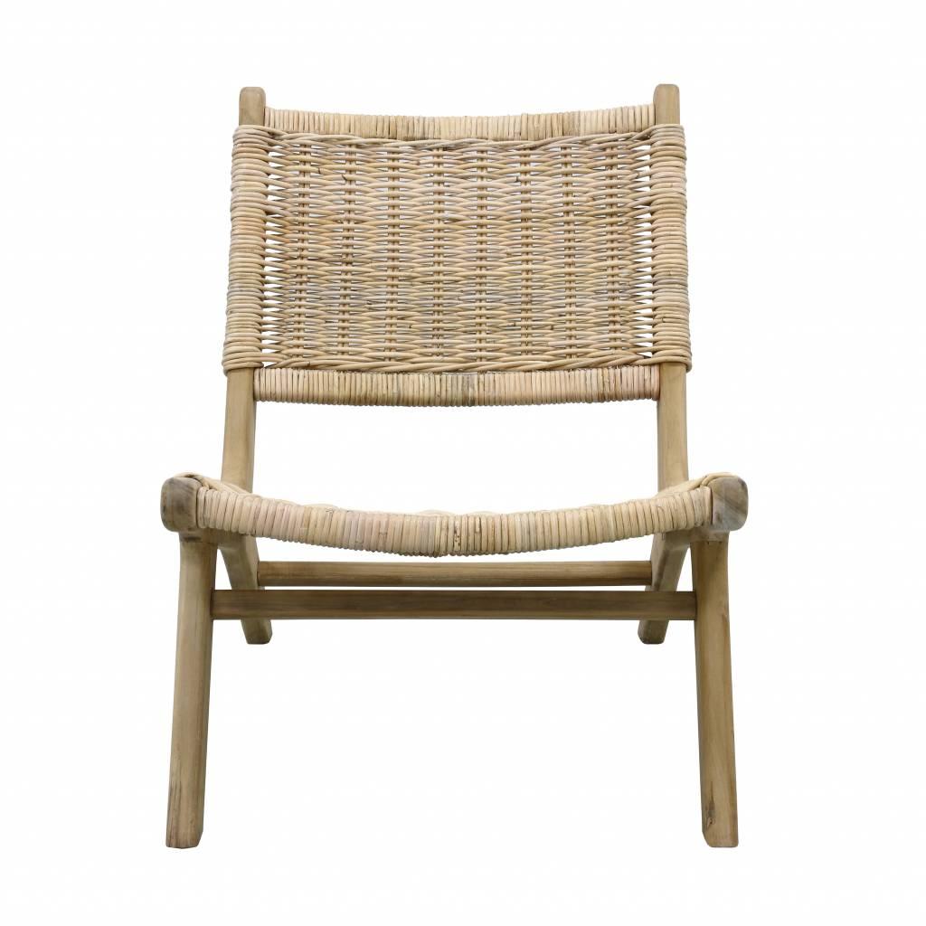 HK Living Fauteuil 'wicker lounge' naturel 64x79x75cm
