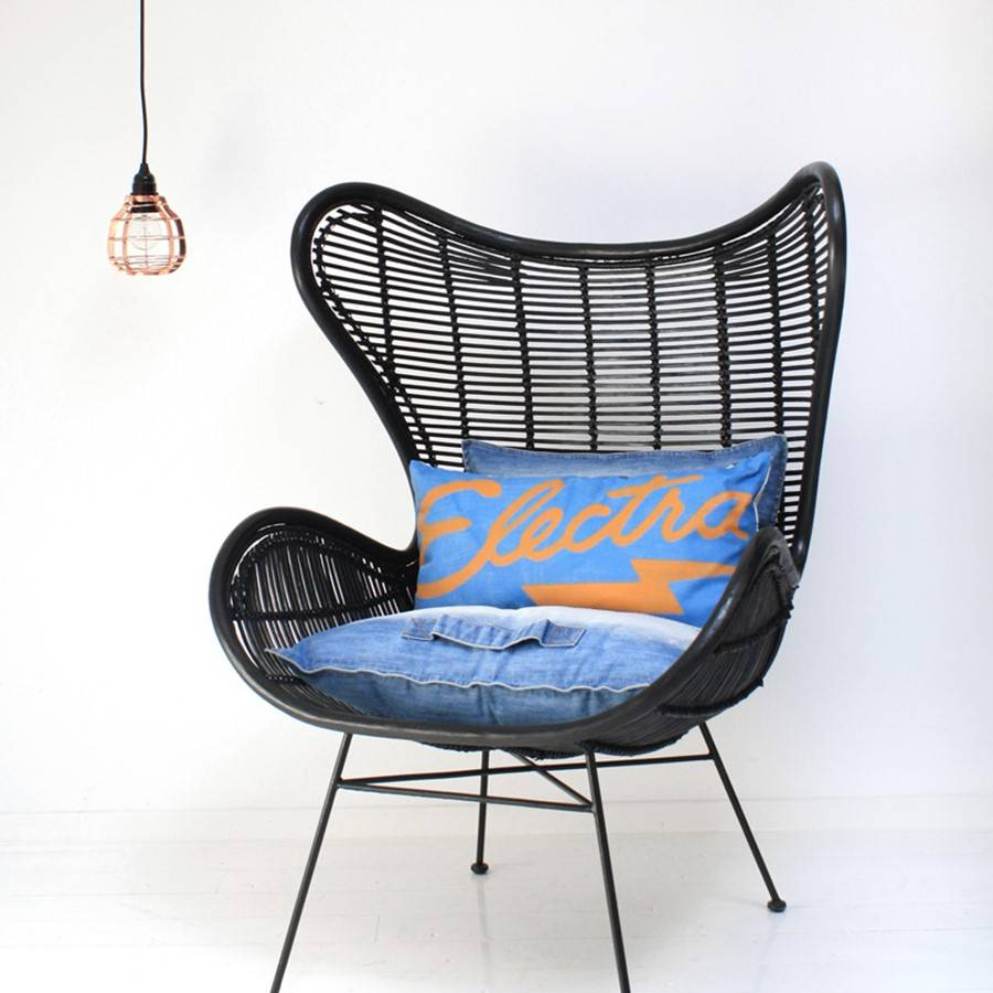 HK Living Rotan stoel 100x63x63cm, zwart