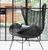 HKliving Rotan stoel 100x63x63cm, zwart
