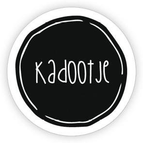 Ronde sticker 'kadootje' wit/zwart, 10st