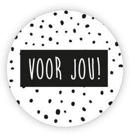 Ronde sticker 'voor jou!' dots 10st
