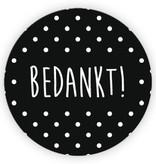 Ronde sticker 'bedankt!' wit/zwart, 10st