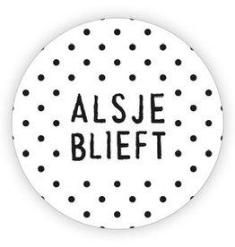 Ronde sticker 'alsjeblieft' zwart/wit, 10st