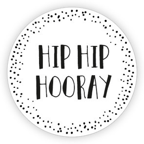Ronde sticker 'hip hip hooray' wit/zwart, 10st