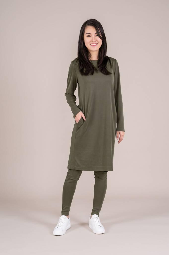 Zusss Leuk zacht  jurkje grijs-groen