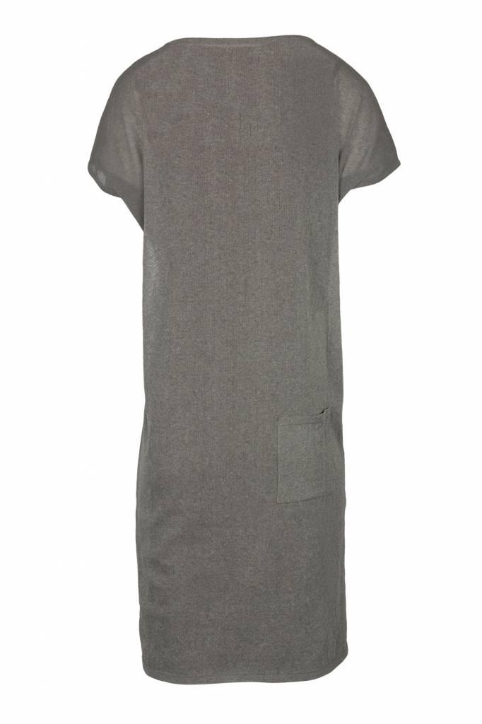 Zusss fijngebreid luchtig jurkje grijs-groen