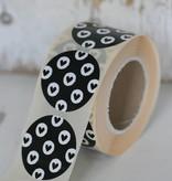 Ronde sticker 'hartjes' zwart/wit, 10st