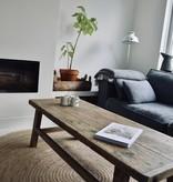 Oude houten robuuste salontafel  140cm, bruin