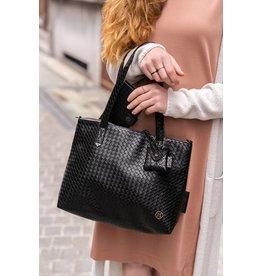 Zusss Royale handtas - zwart gewafeld