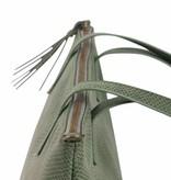 Zusss Royale handtas 27x37x12 cm - groene schub
