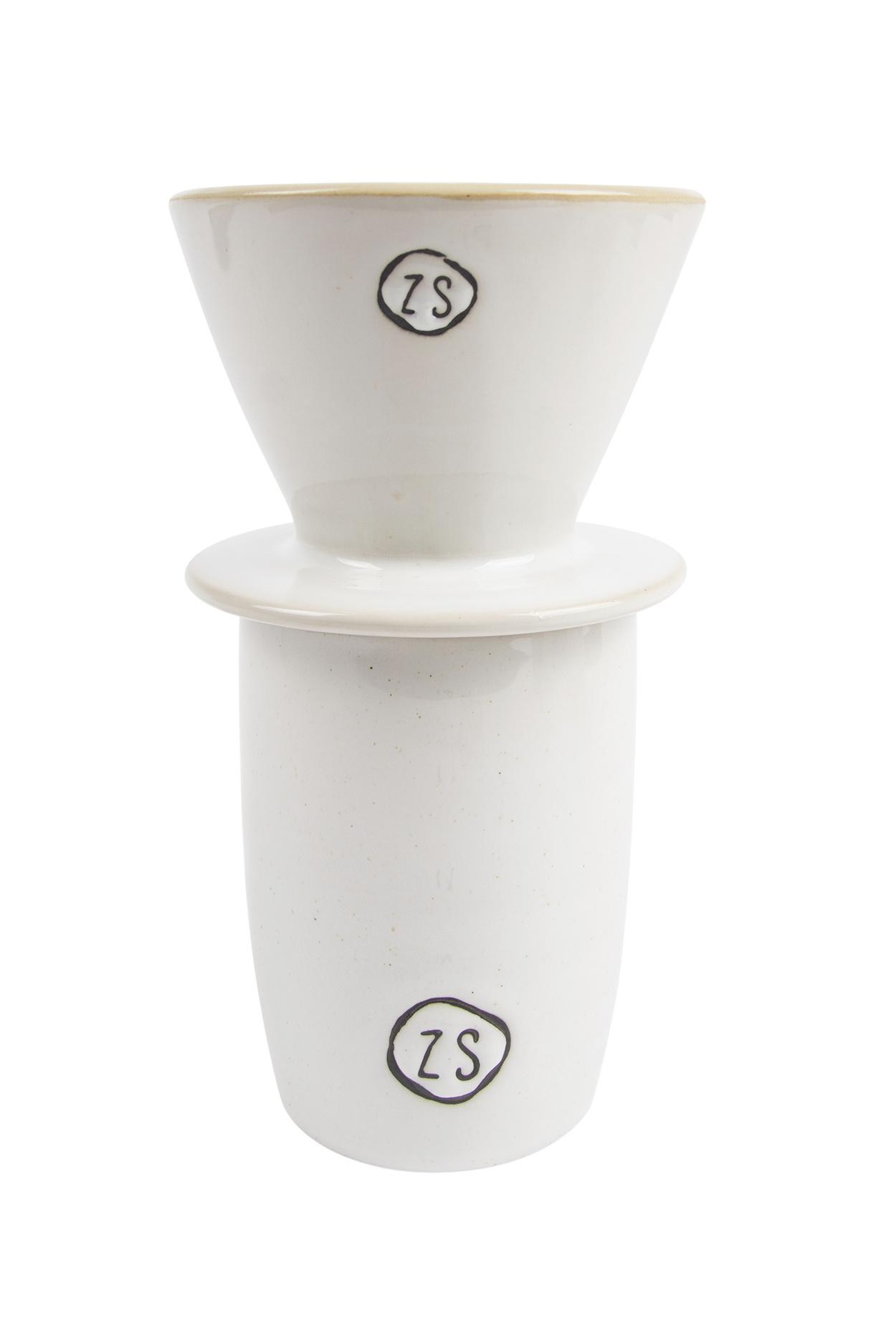 Zusss koffiefilterhouder aardewerk -  wit
