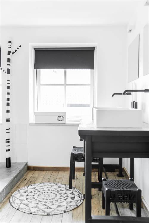 HK Living Badmat rond 80cm, zwart/ecru