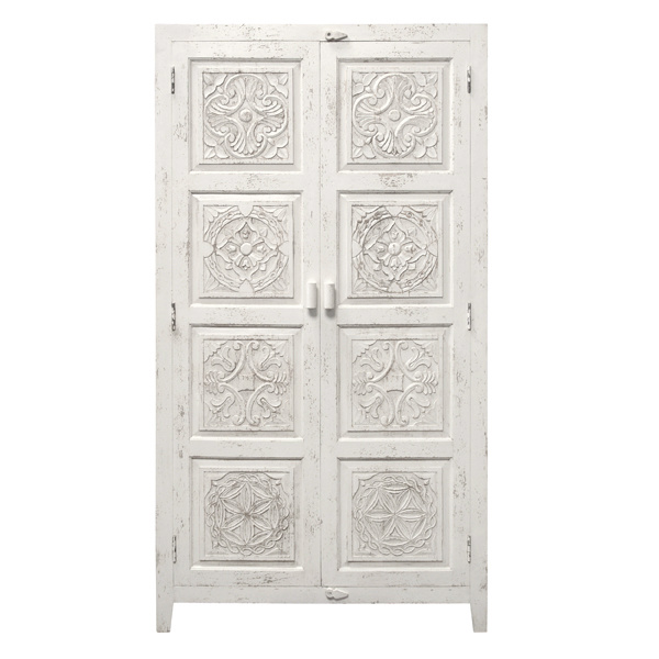 HK Living Hand carved wooden cabinet - white