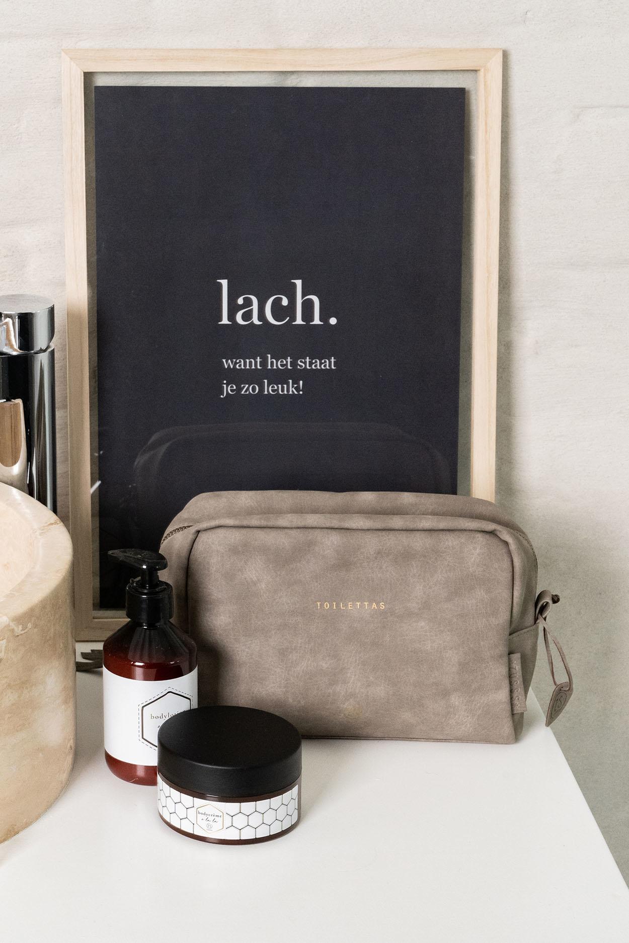 Zusss Handige toilettas 24x16x10 cm - warm grijs