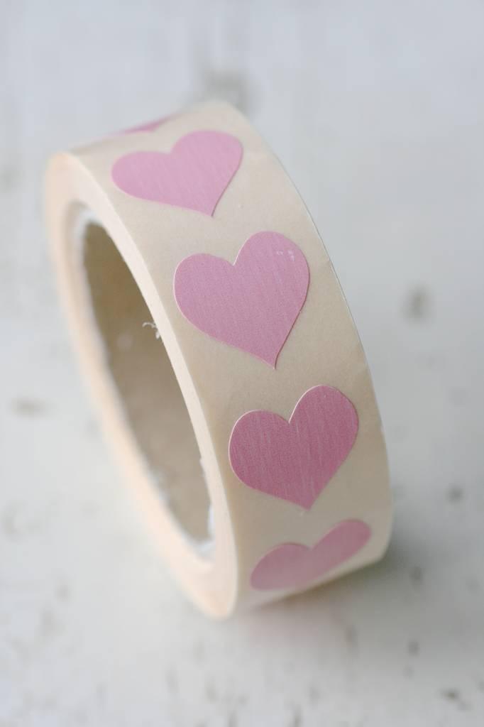 sticker hartje klein roze, 10st