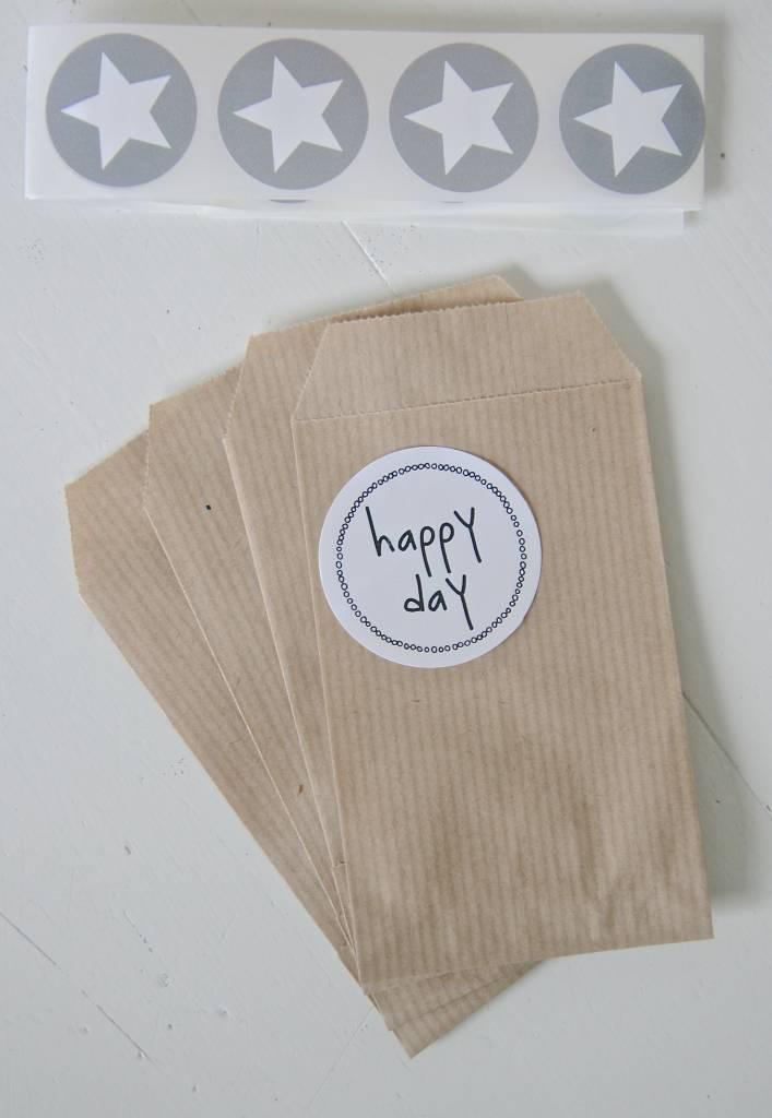 papieren craft zakjes 7x11cm bruin, 10 stuks - label123