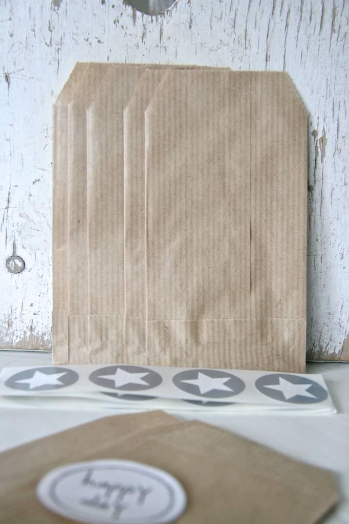 Papieren craft zakjes 7x11cm bruin, 10 stuks