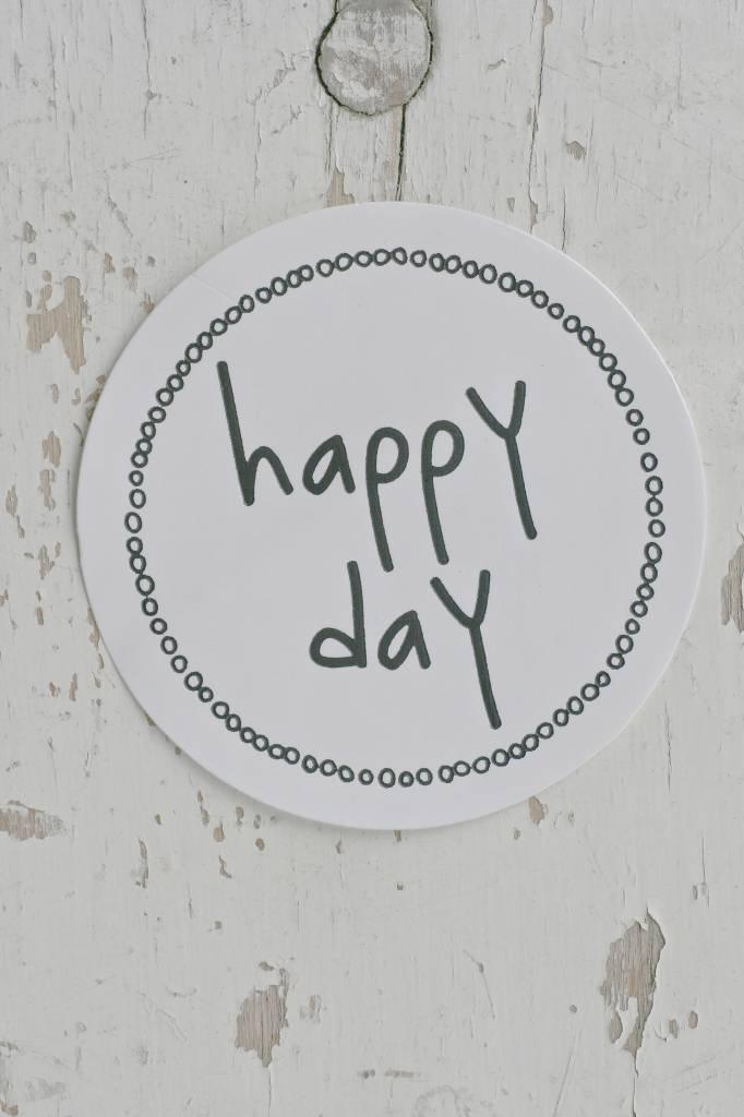 Ronde sticker happy day, wit, 10st