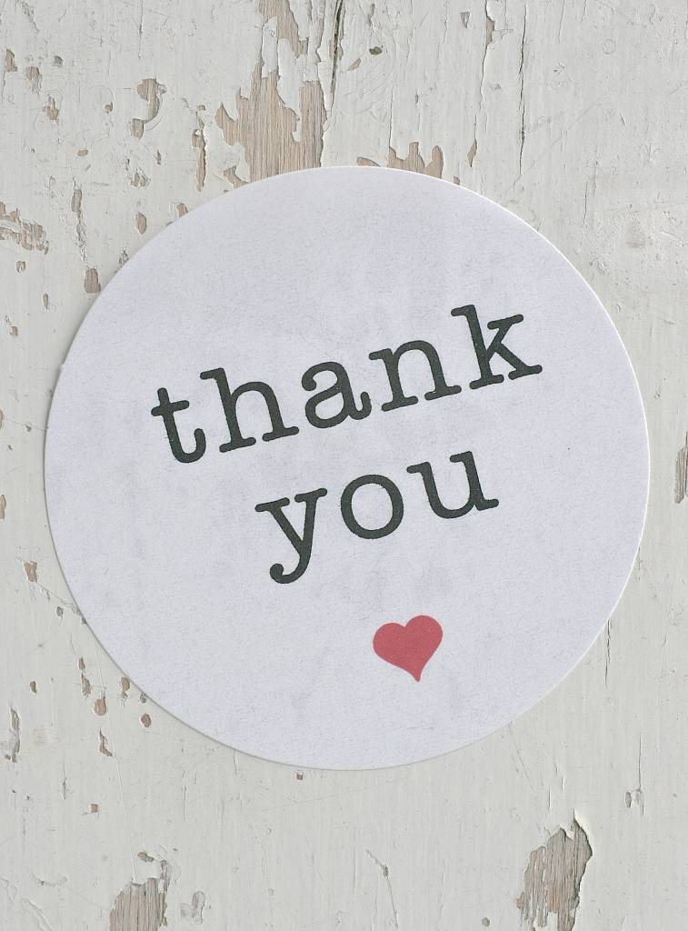 Ronde sticker thank you, wit, 6st