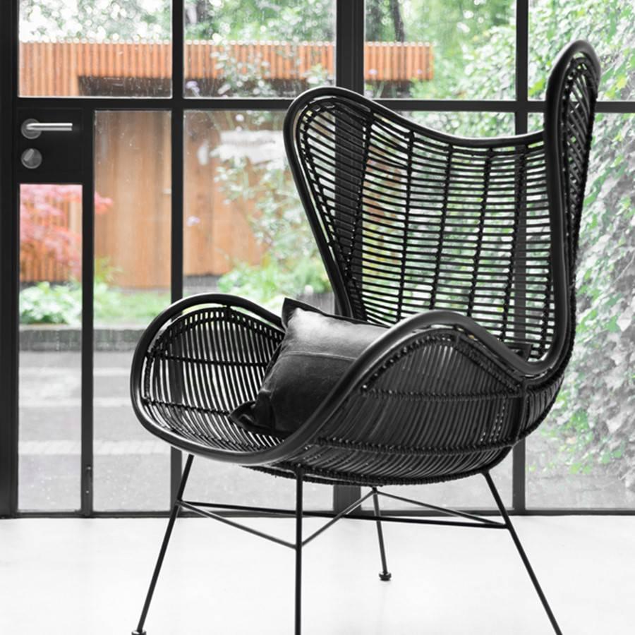 HK Living Rotan stoel outdoor 110x74x81cm, zwart