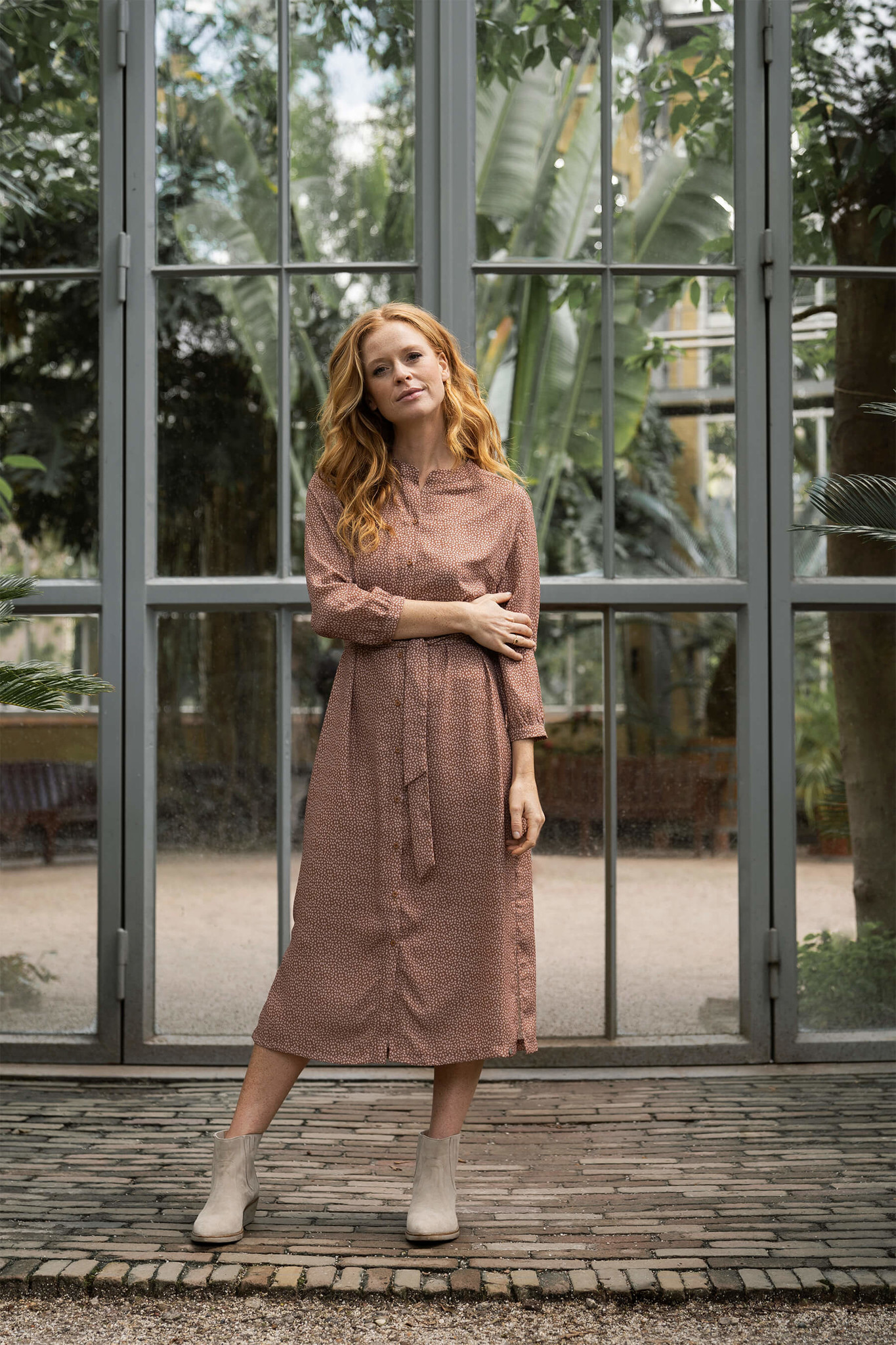 Zusss leuke lange jurk met print - honing