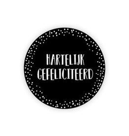Ronde sticker 'hartelijk gefeliciteerd' zwart/wit, 10st