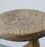 Oud chinees rond krukje 33cm, bruin