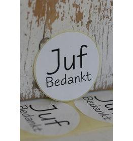 Ronde sticker 'Juf bedankt' wit/zwart, 5st