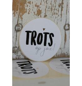 Ronde sticker 'Trots op jouw' wit/zwart, 10st